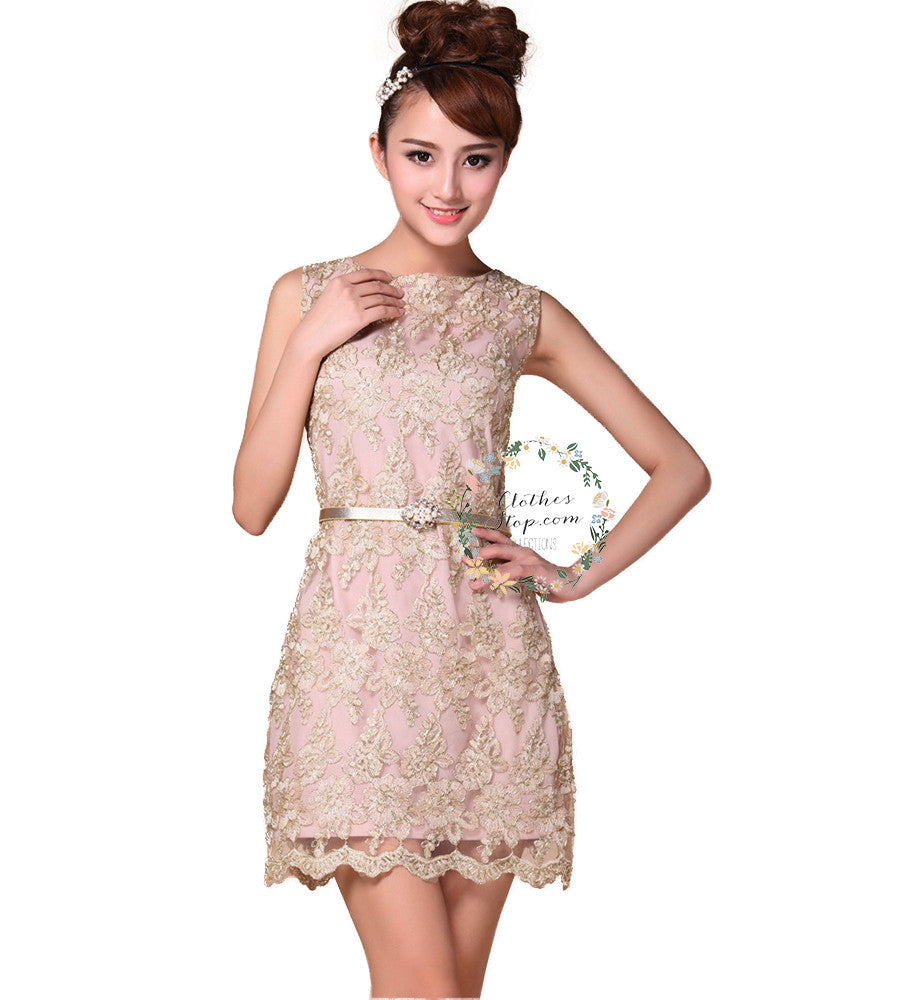 Lace sheath dresses with belts